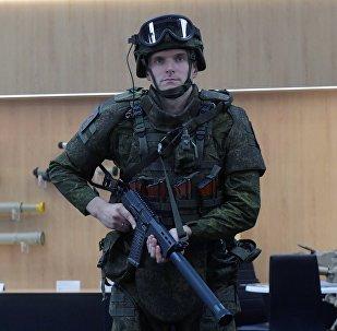 Uno de los exoesqueletos mostrados en el foro Army 2018