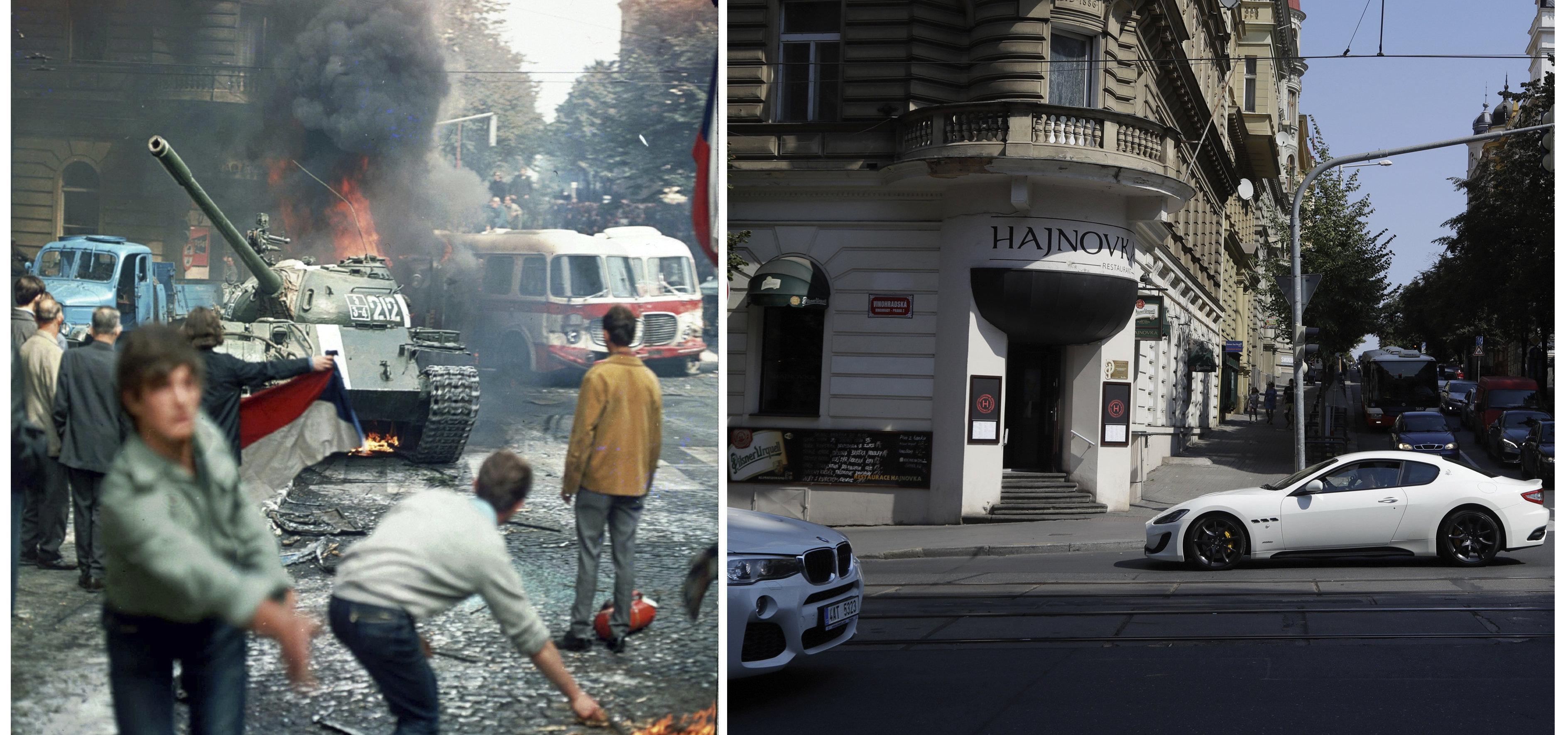La misma calle de Praga en 1968 y hoy