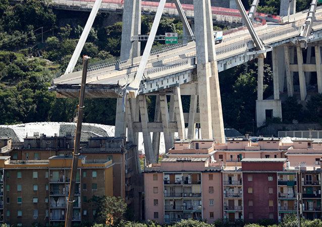 El puente colapsado Morandi, en Génova, Italia