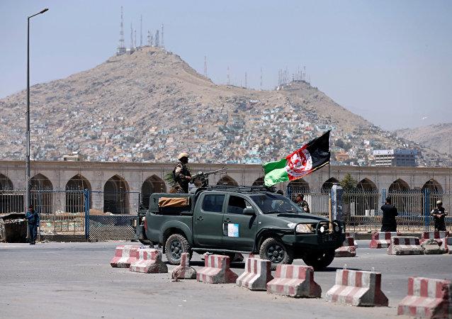 Las fuerzas de seguridad afganas en Kabul, Afganistán