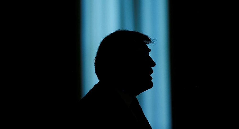 La silueta de Donald Trump, el presidente de EEUU