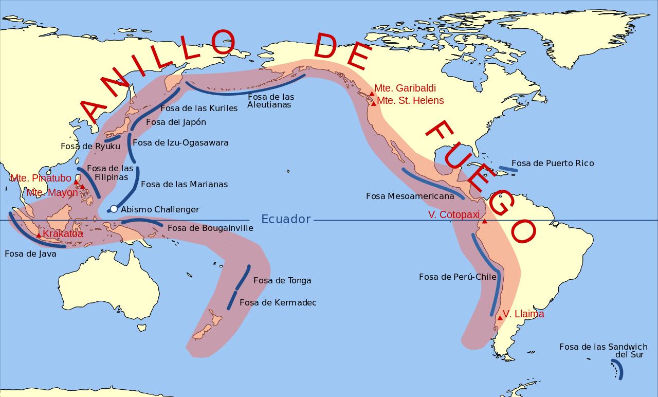 Mapa del Cinturón o Anillo de Fuego del Pacífico