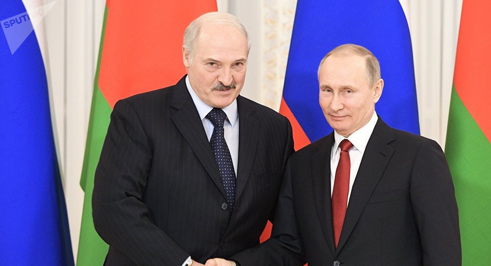 Presidente de Bielorrusia, Alexandr Lukashenko, y presidente de Rusia, Vladímir Putin