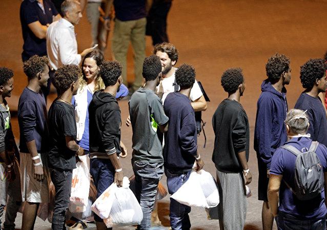 Migrantes del barco Diciotti