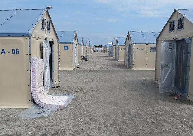 Casetas del campo de refugiados Rondon I en Boa Vista