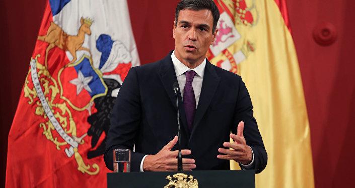 Pedro Sánchez, presidente del Gobierno español, durante su visita a Chile