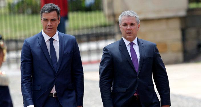 El presidente del Gobierno español, Pedro Sánchez, y el presidente de Colombia, Iván Duque
