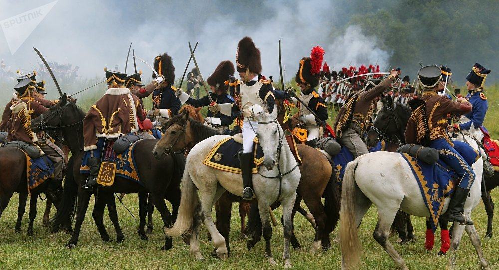 Reconstrucción histórica de la batalla de Borodinó, foto de archivo