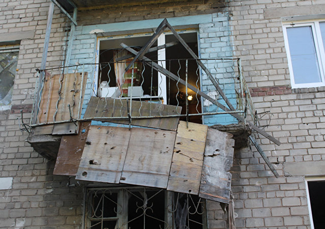 Edificio destruido en Donbás