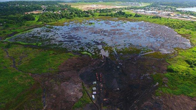 El lago de asfalto de La Brea en Trinidad y Tobago
