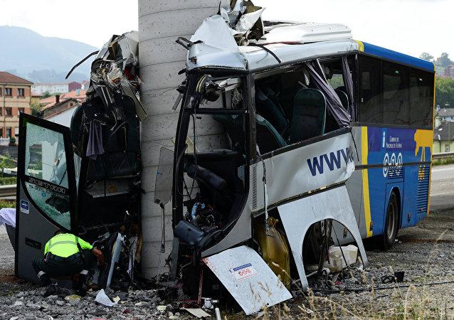 Un accidente de autobús en Asturias, España