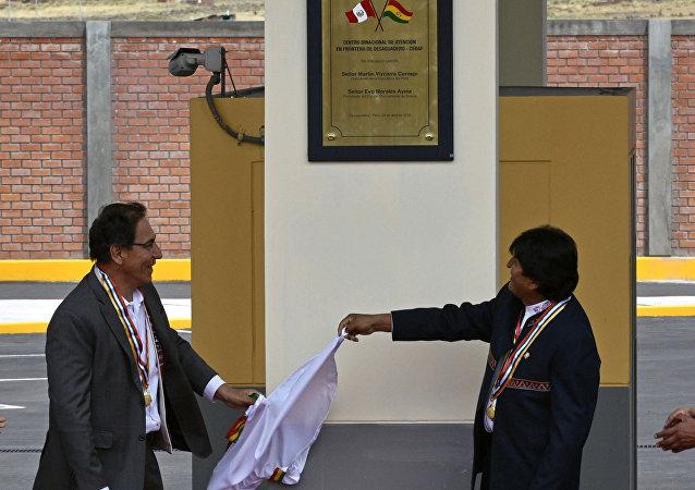 Presidente de Perú, Martín Vizcarray, y presidente de Bolivia, Evo Morales (archivo)