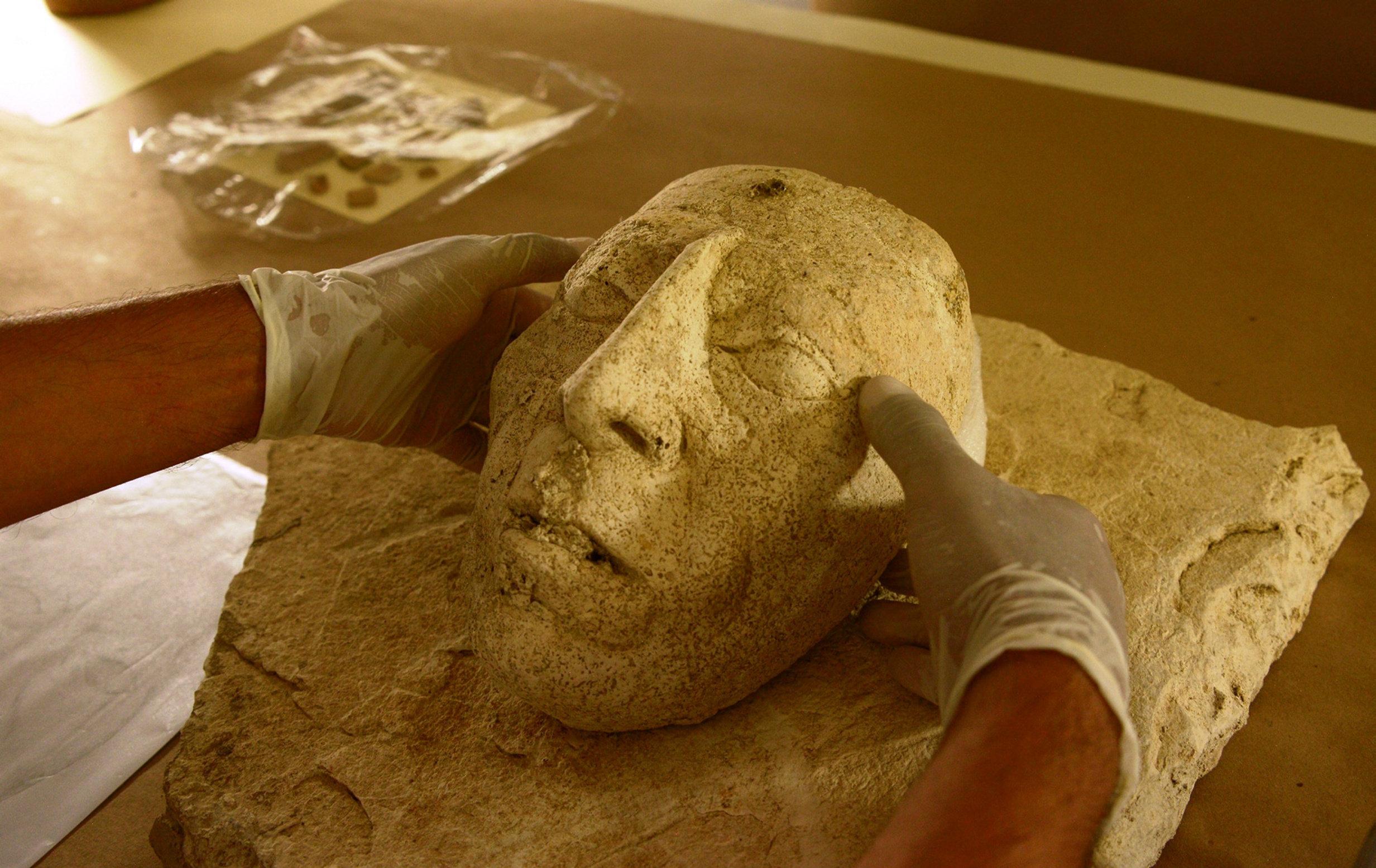Máscara de estuco de Pakal, encontrada en Palenque, México