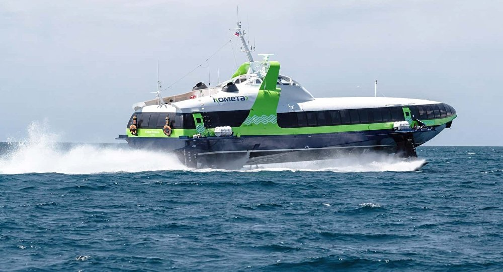 El barco hidroala ruso Kometa-120M durante uno de sus viajes en el mar Negro en agosto de 2018