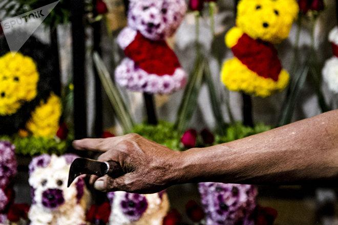 Gerónimo con una navaja para poda en la mano, muestra ositos elaborados con flores en el mercado Jamaica Vive