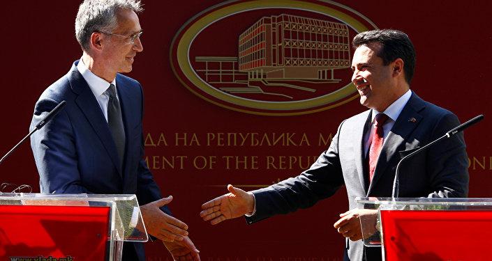 Jens Stoltenberg, el secretario general de la OTAN y Gjorge Ivanov, el presidente de Macedonia