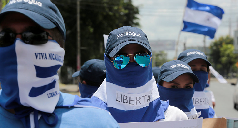Los manifestantes en una protesta en Nicaragua