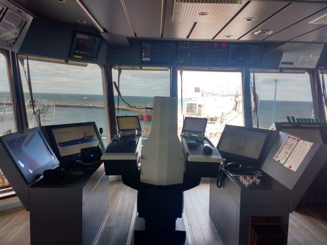 Vista desde la sala de comandos del buque noruego que buscará al Ara San Juan, desaparecido en noviembre de 2017
