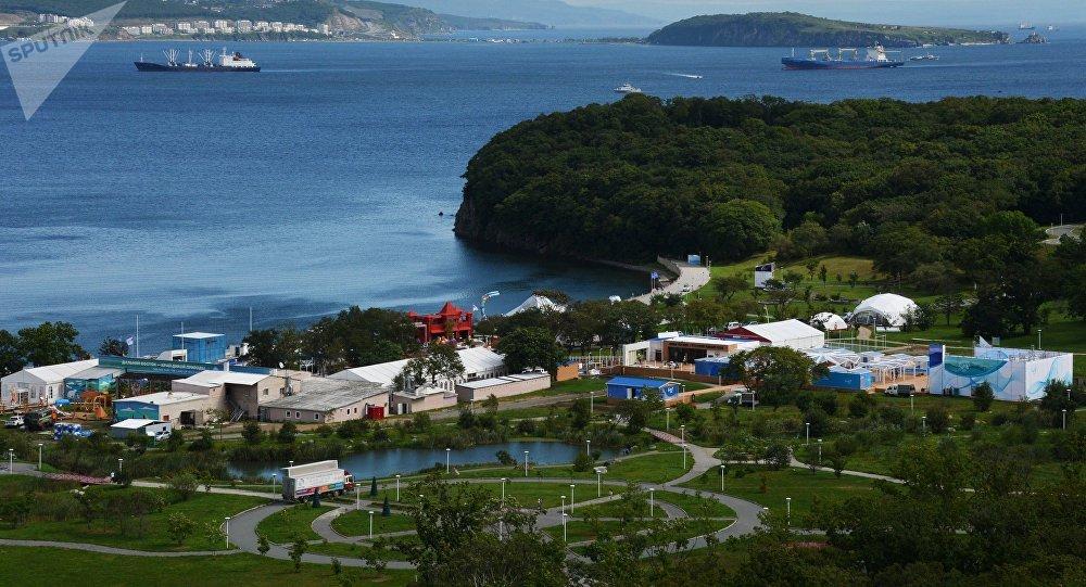 Preparación para el Foro Económico Oriental en Vladivostok, en el Lejano Oriente, Rusia