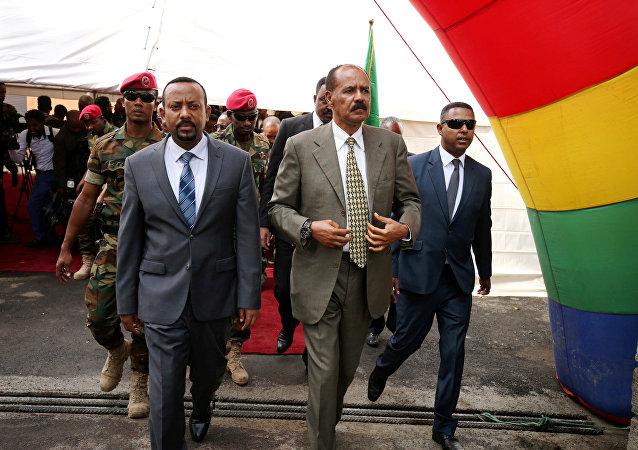 El presidente de Eritrea, Isaias Afwerki, y el primer ministro de Etiopía, Abiy Ahmed Ali