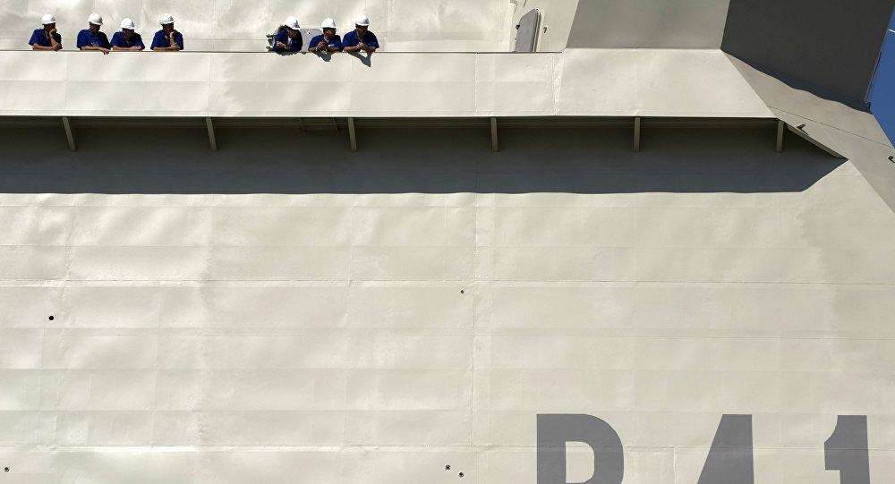 Los trabajadores del astillero de Navantia de Cádiz, España (archivo)