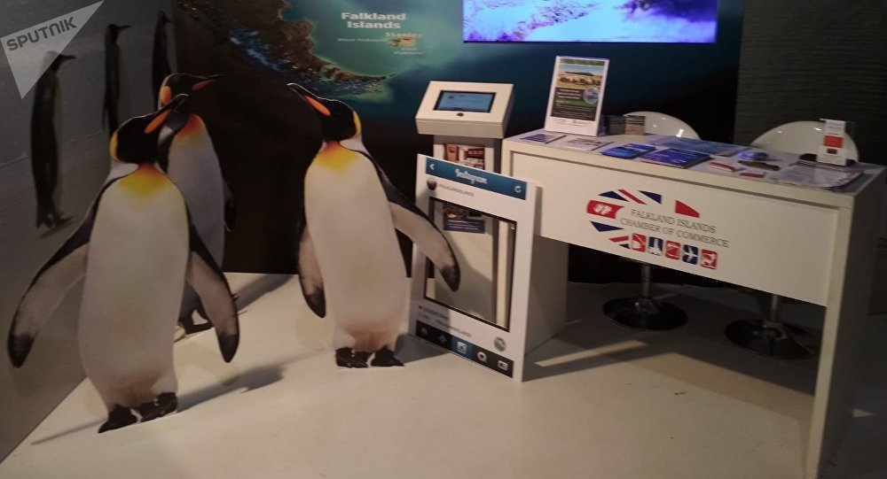 Estand de Gran Bretaña en la Expo Prado de Uruguay.