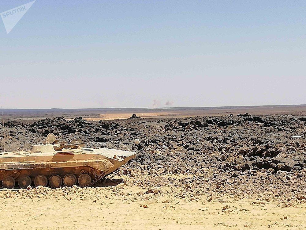 Un vehículo blindado del Ejército Árabe Sirio