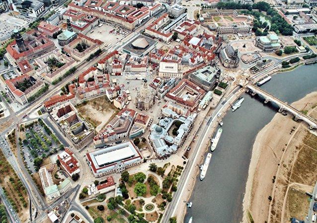 La vista aérea de Dresde, Alemania