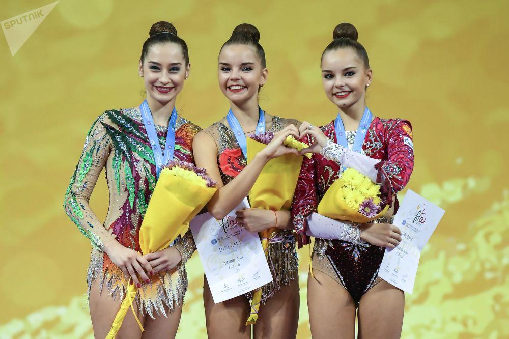 La ceremonia de premios del Campeonato Mundial de gimnasia rítmica de Sofía (Bulgaria).
