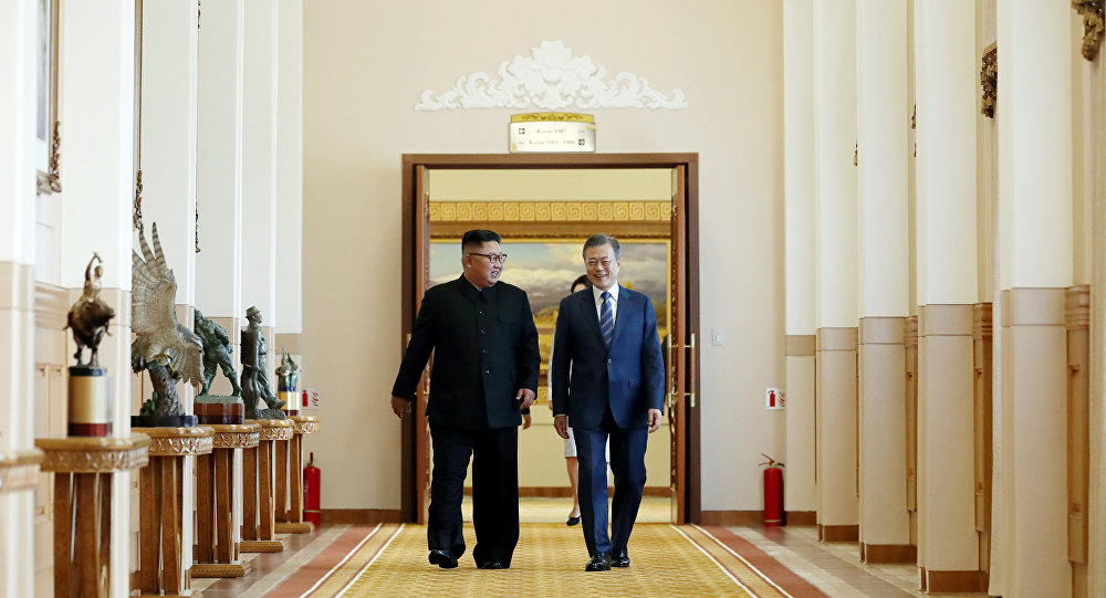El líder de Corea del Norte, Kim Jong-un, el presidente de Corea del Sur, Moon Jae-in