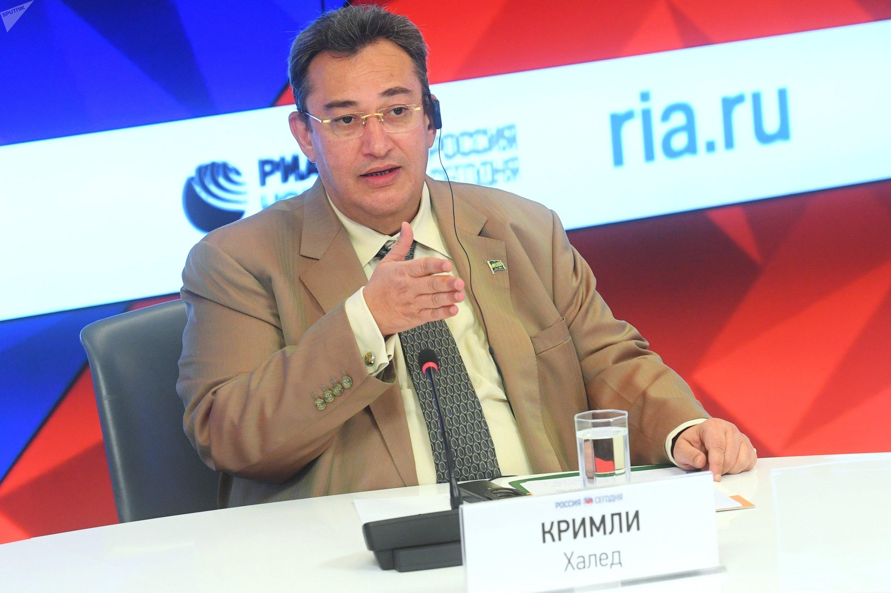 Raed Bin Khaled Qrimli, embajador de Arabia Saudí en Rusia en una rueda de prensa en la agencia MIA Rossiya Segodnya, matriz de Sputnik