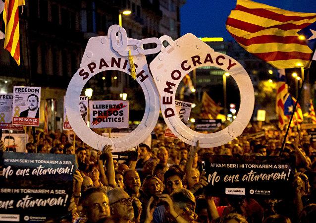 Los manifestantes independentistas en Barcelona, España