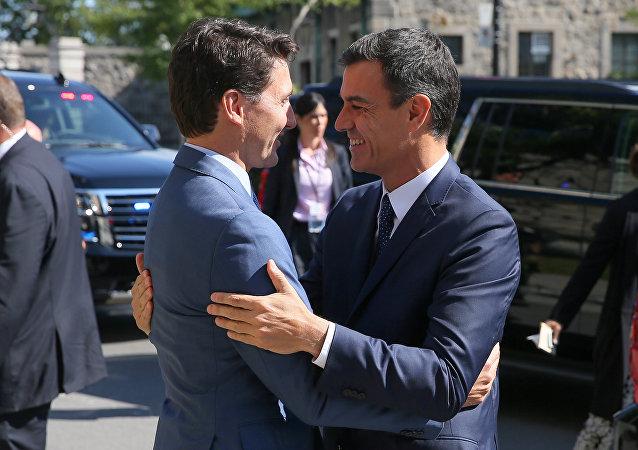 El primer ministro de Canadá, Justin Trudeau, y el presidente del Gobierno español, Pedro Sánchez