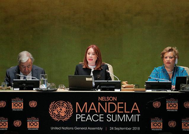 María Fernanda Espinosa, presidenta de la Asamblea General de la ONU, en la apertura de una reunión por el centenario de nacimiento de Nelson Mandela