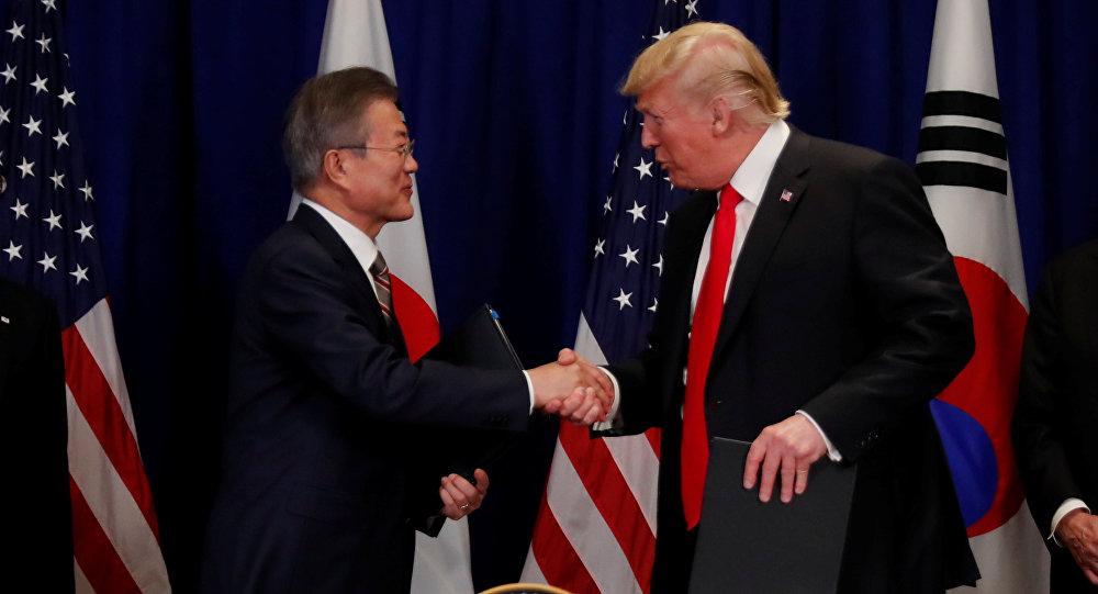 Presidente de Corea del Sur, Moon Jae-in, y presidente de EEUU, Donald Trump
