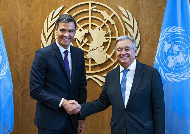 El presidente del Gobierno español, Pedro Sánchez, y el Secretario General de la ONU, Antonio Guterres