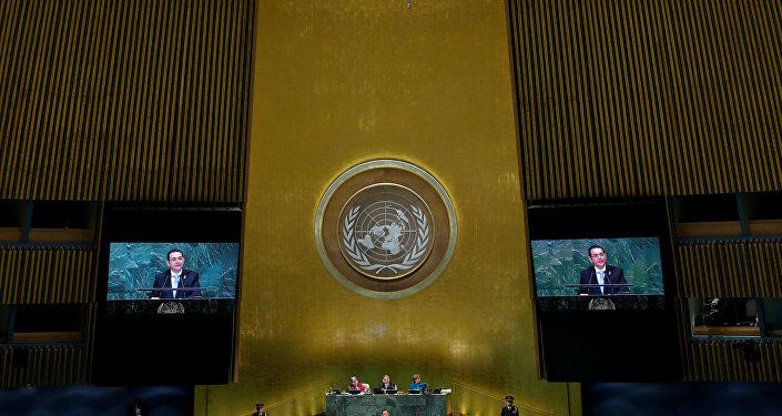 El presidente de Guatemala, Jimmy Morales, durante su discurso en la Asamblea General de la ONU