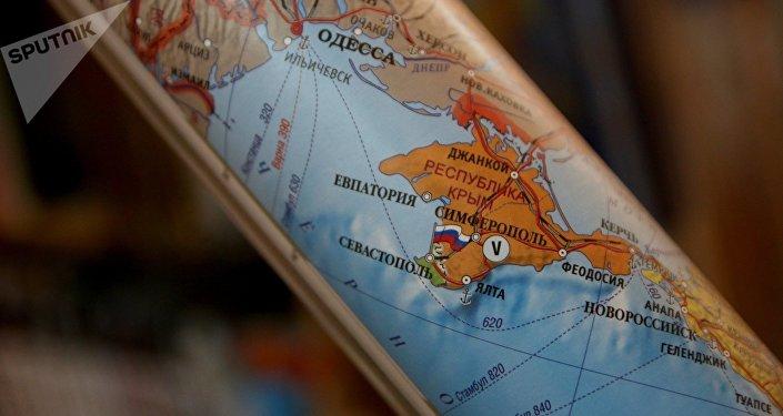 El mapa de Europa con la península de Crimea