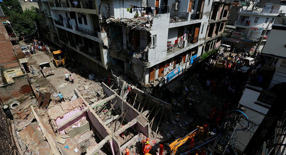 Colapso del edificio en el norte de Nueva Delhi