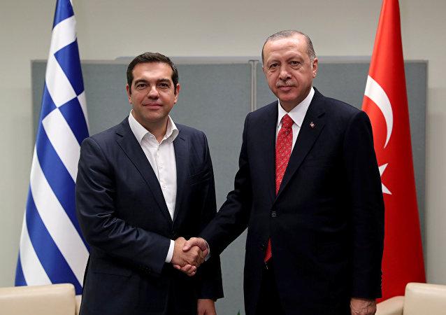 El primer ministro de Grecia, Alexis Tsipras, y el presidente de Turquía, Recep Tayyip Erdogan