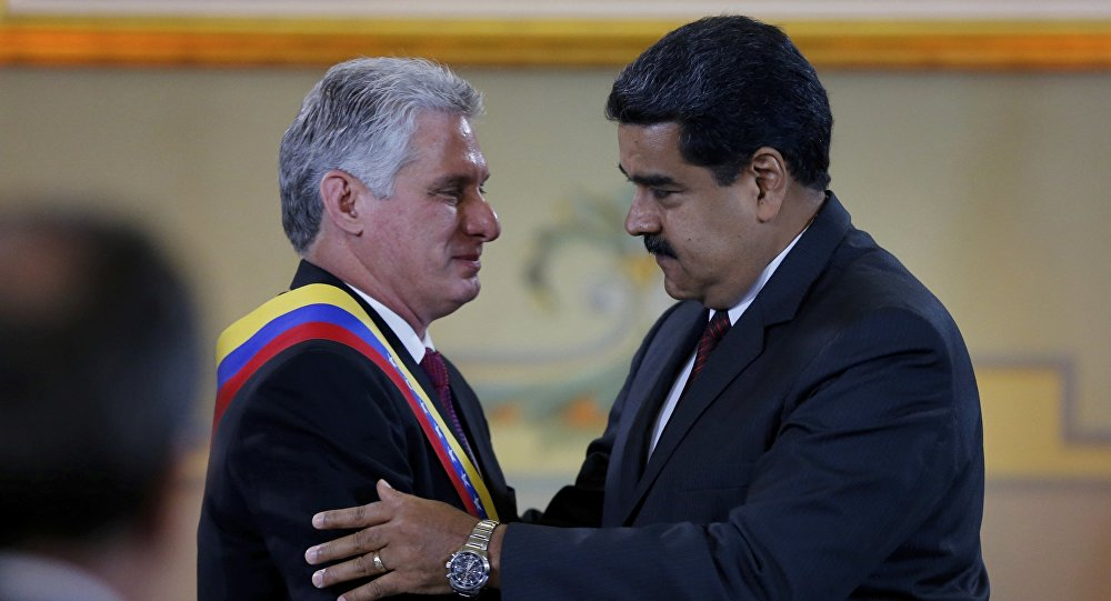 Miguel Díaz-Canel, presidente de Cuba y Nicolás Maduro, presidente de Venezuela