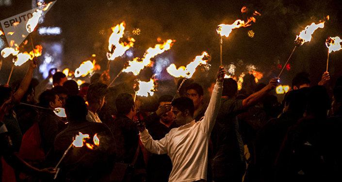 Manifestación para exigir justicia a cuatro años de la desaparición forzada de 43 estudiantes de Ayotzinapa
