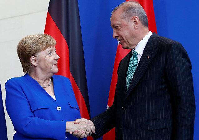 Ángela Merkel, canciller de Alemania, y Recep Tayyip Erdogan, presidente de Turquía