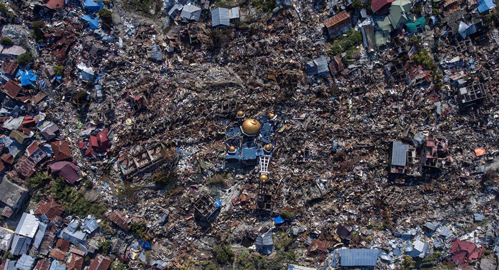 Vista aérea de una zona devastada por un terremoto en Indonesia