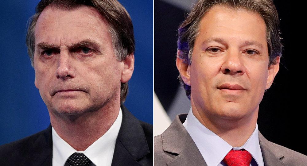 Montaje con Jaír Bolsonaro, a la izquierda, y Fernando Haddad, a la derecha, los dos principales candidatos a la presidencia de Brasil.