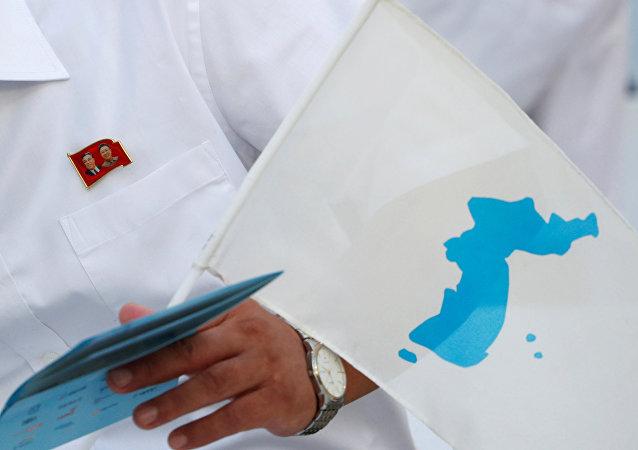 Bandera de la península de Corea (imagen referencial)