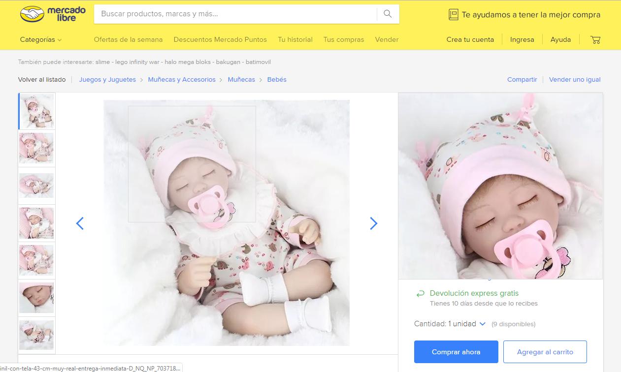 Bebé con certificado de nacimiento, una oferta de Mercado Libre México