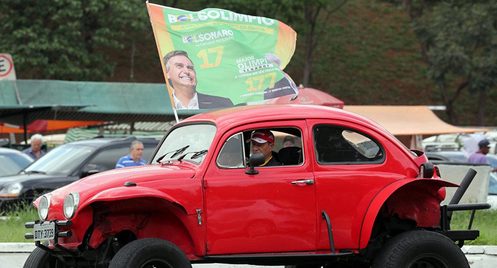 Partidario del candidato Jair Bolsonaro