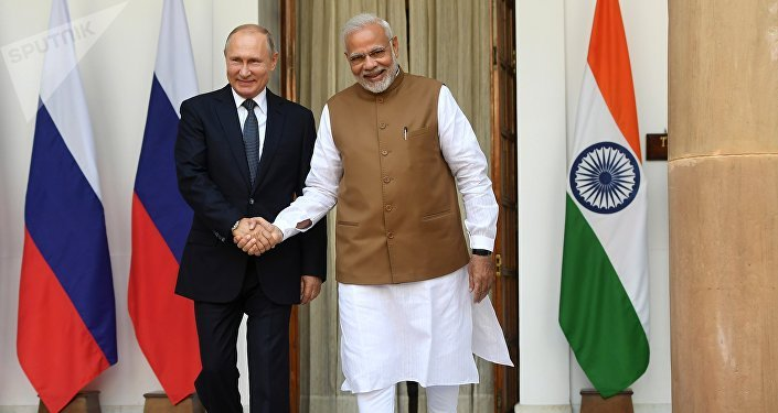 Presidente de Rusia, Vladímir Putin, y primer ministro indio, Narendra Modi