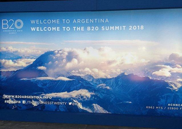 Afiche del Business 20 (B20) en Buenos Aires, Argentina